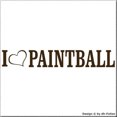 cartattoo4you AL-00872 | I Love (als Herz) Paintball | Autoaufkleber Aufkleber Farbe braun, in 23 weiteren Farben erhältlich, glänzend 20 x 3 cm Waschstrassenfest, Motiv Copyright by dh-Folien