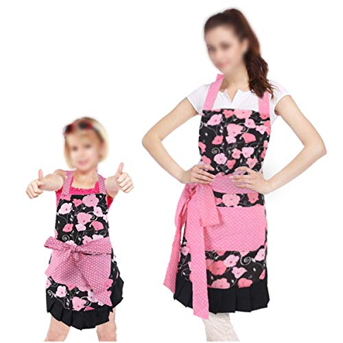 Surblue Adjustable Bib Apron for Mom and Kids Artist Party Smocks Clothes Cover,2 PCS