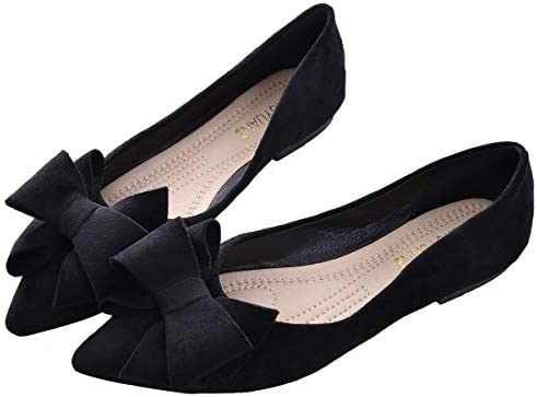 SAILING LU Bow Knot Ballet Flats Womens Pointy Toe Flat Shoes Suede Dress Shoes Wear to Work product image