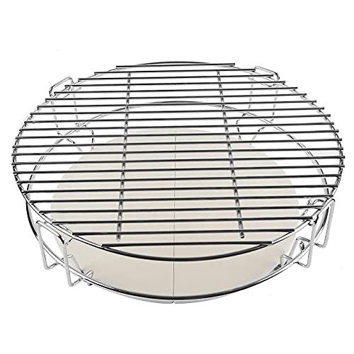 Sysrqcer Halbkochsystem Grid Grates Set, Wärme Deflektoren/Pizza Stein und BBQ Basis-Zahnstange for Kamado Joe, Pit Boss, Großer Big Green Egg, Großer Grill Dome und Anderen Grill