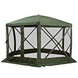 Outsunny 6-Sided Hexagon Pop Up Party Tent Gazebo with Mesh Netting Walls & Shaded Interior, 12' x 12', Green