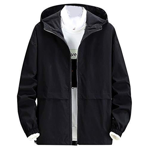 MAYOGO Herren Winterjacke Übergangsjacke Regenjacken Freizeit Jacke Full-Zip Softshell Jacke College Jacke mit Kapuze NV1, Schwarz,XXXXL