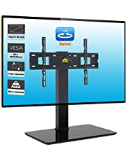 """FORGING MOUNT Swivel Univerial TV Stand TV Base for 37-70"""" LCD LED OLED 4K TVs-Height Adjustable TV Mount Stand with Tempered Glass Base & Wire Management,VESA 600x400mm Holds 99lbs"""