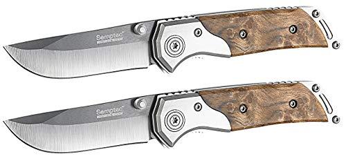 Semptec Urban Survival Technology Scharfes Taschenmesser: 2er-Set Keramik-Taschenmesser mit 7 cm Klinge, Holz-Griff (Extrem Scharfes Taschenmesser)