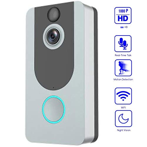 YOLANDE Campanello Video Wireless WiFi, 1080P HD Cloud Storage Gratuito Fotocamera Campanello Intelligente,Conversazione bidirezionale, Rilevazione Movimento PIR e Visione Notturna Video,Silver Gray