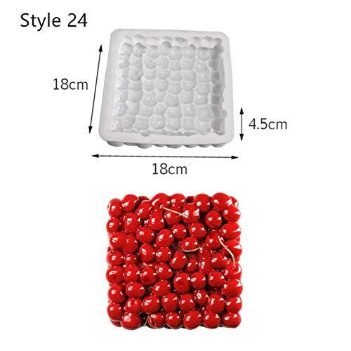 EDCV Cake Decorating Mold 3D siliconen mallen bakgereedschap voor hart ronde cakes Chocolade brownie, stijl 24