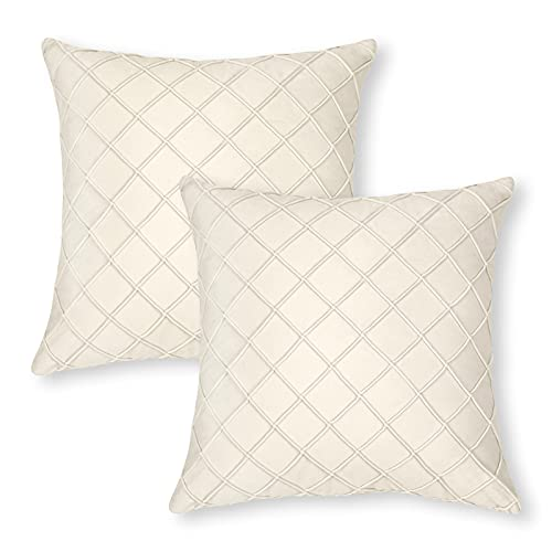 Yugarlibi Creme Samt Kissenbezüge, Moderne weiche quadratische Kissenbezüge, dekorative Gitter Kissenbezüge für Schlafzimmer Wohnzimmer Sofa, 2er Set Creme 45x45cm