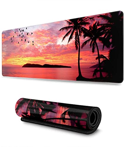Sunset Evening Silhouette Gaming Mouse Pad XL,Extended Large Mouse Mat Desk Pad, Stitched Edges Mousepad,Long Non-Slip Rubber Base Mice Pad,31.5X11.8 Inch