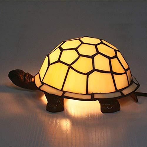GLX Tiffany-Art-Schildkröte-Lampen, Kunst-Nachtlicht Glasmalerei Lampenschirm Für Nacht Wohnzimmer Kinderzimmer Tischleuchte (Multicolor)