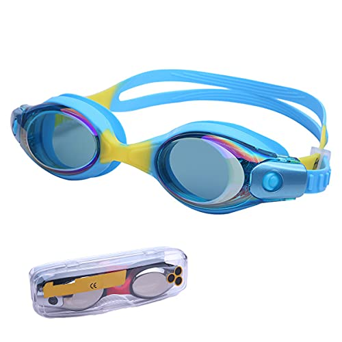 LIMESI Niños Niñas Gafas Nadar HD Antivaho Niño Protección UV Gafas de Natación Polarizadas sin Fugas Entrenamiento de Competición Ajuste Cómodo-Blue