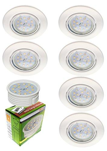 Trango Paquete de 6 Proyectores empotrables LED ultra planos, luces empotradas, lámpara de techo TG6729-066MOSD en blanco, incluye 6x Módulo LED regulable solo 30 mm empotrada en el techo