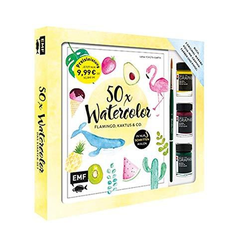 50 x Watercolor – Flamingo, Kaktus & Co. – Starter-Set – Sonderausgabe: Die beliebtesten Aquarellmotive in nur 5 Schritten – Buch, 3 original Marabu Aqua-Ink-Graphix-Farben und Pinsel