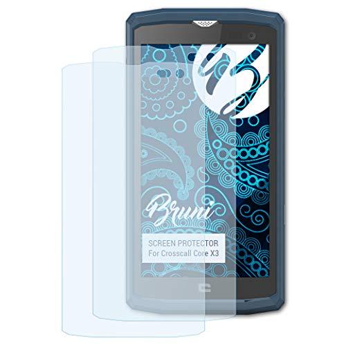 Bruni Schutzfolie kompatibel mit Crosscall Core X3 Folie, glasklare Bildschirmschutzfolie (2X)