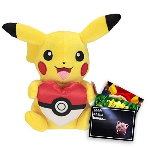 Lively Moments Pokemon Plüschtier / Kuscheltier ca. 20 cm Präsent Edition Plüschfigur Pikachu mit Pokeherz und Exklusive GRATIS Grußkarte