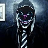 SOUTHSKY Máscara LED dulce o ácida, color blanco, cara completa, azul y lila, con alambre para Halloween, disfraz, fiesta de cosplay