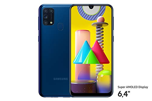 Samsung Galaxy M31 Android Smartphone ohne Vertrag, 4 Kameras, großer 6.000 mAh Akku, 6,4 Zoll Super AMOLED FHD+ Display, 64GB/6GB RAM, Handy in blau, deutsche Version exklusiv bei Amazon