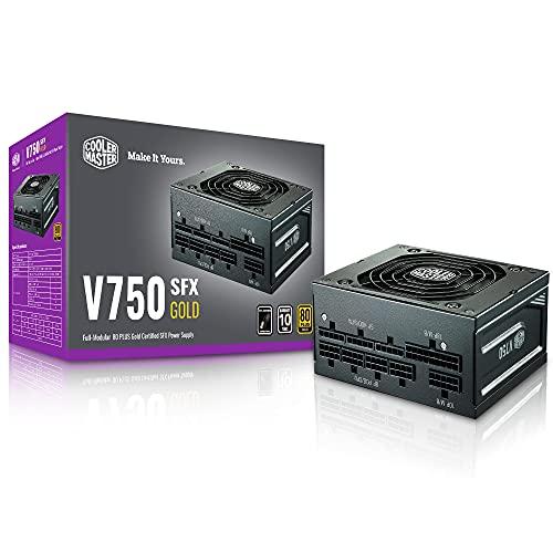 Cooler Master V750 SFX Gold Full Modular, 750W, 80+ Gold Efficiency, ATX Bracket Included, Quiet FDB Fan, SFX Form Factor, 10 Year Warranty