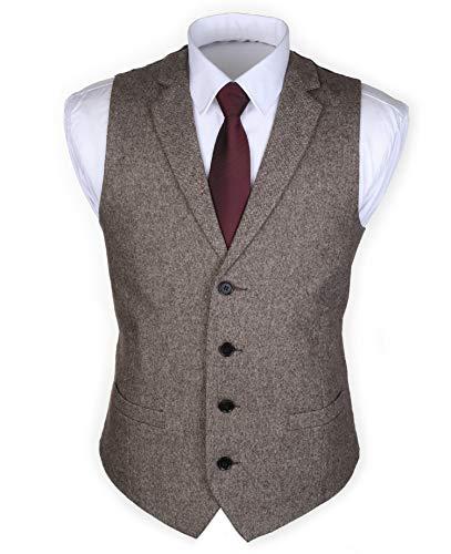 Ruth&Boaz 2Pockets 4Buttons Wool Herringbone/Tweed Tailored Collar Suit Waistcoat (56, Tweed brown)
