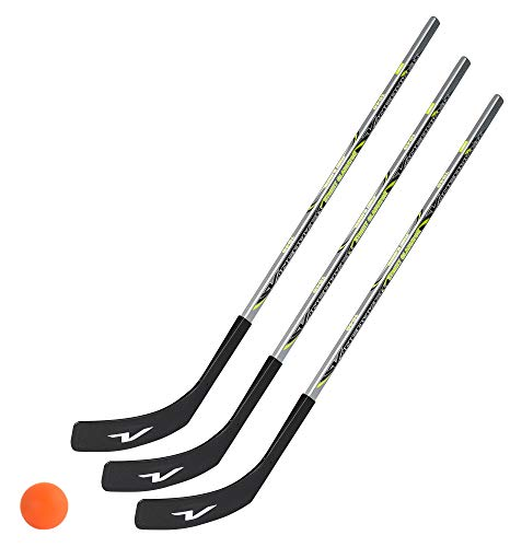 Unbekannt 3 x Vancouver Streethockeyschläger 100 cm, Kids Plus 1 Hockey-Ball (3 x Rechtsschuss (rechte Hand unten))