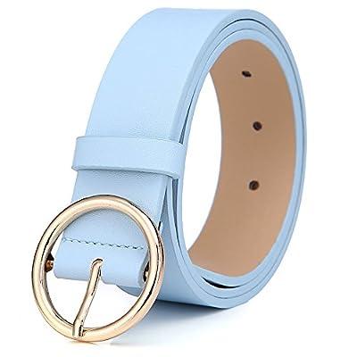 MorNon Round Buckle Belt Casual Belt Wide Leather Belt Women Belts Leather Pu Leather Belt gold
