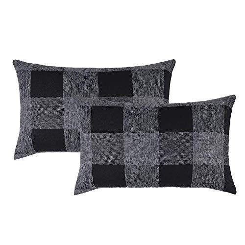 DELIBEST Juego de 2 fundas de cojín de búfalo a cuadros, color negro y gris, decorativas, fundas de almohada rectangulares de 30,5 x 50,8 cm, para decoración del hogar de granja