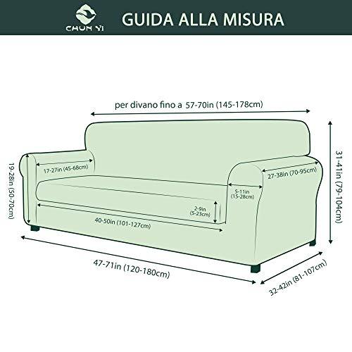 CHUN YI 2-Pezzi Copridivano Jacquard Monocromatico in Tessuto Elastico(Divanetto, Grigio)