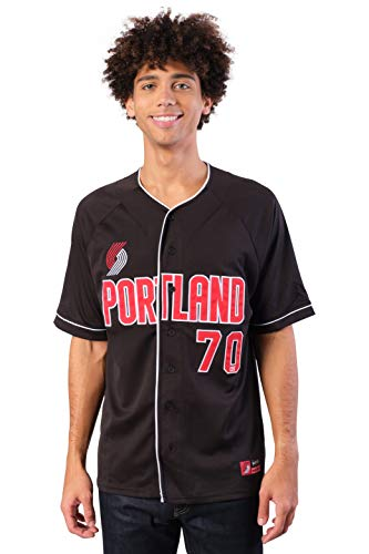 Ultra Game NBA Portland Trail Blazers Mens Mesh Button Down Baseball Jersey Tee Shirt, Black, Medium
