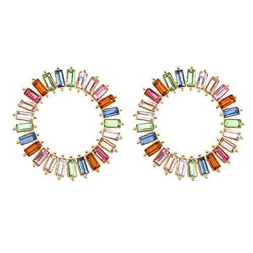 Pendientes colgantes redondos con diseño de baguette de arco iris, con cristales coloridos para niñas y mujeres