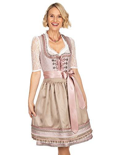 Krüger Dirndl Midi Dirndl 2tlg. 60 cm Norma beige rosa, 42