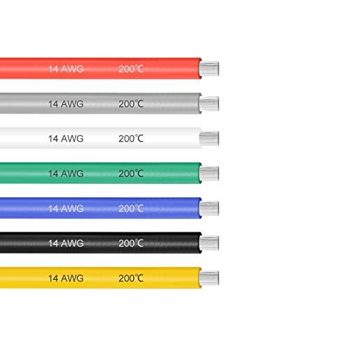 sourcing map Cable de silicona de 14 AWG Alambre de cobre trenzado de cable eléctrico de 3 pies de 7 colores.