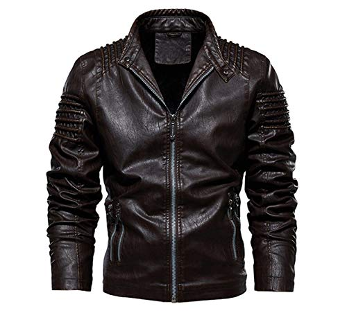 Moda Slim Outwear Masculina Chaqueta De Cuero para Hombre Invierno Otoño Chaqueta De PU De Motocicleta para Hombre Cálido M Café
