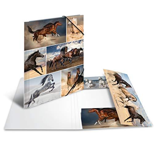 HERMA 19209 - Carpeta DIN A4, diseño de caballos de cartón resistente con solapas interiores impresas, carpeta con gomas elásticas, 1 carpeta de dibujo para niños
