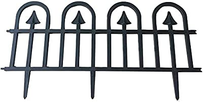 """Abba Patio Garden Fence Recycled Plastic Landscape Edging 6 Sections 24.5"""" x 12.5"""" Flexible No-Dig Ornamental Wrought Iron Style Decorative Border, Black"""