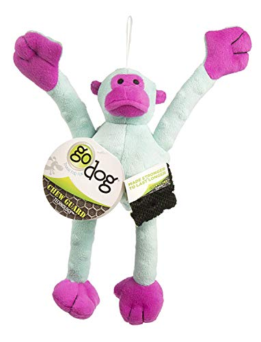 goDog Crazy Tugs Monkeys with Chew Guard Technology Durable Plush Squeaker Dog Toy, Small, Turquoise Pink