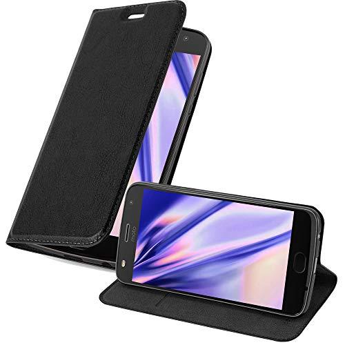 Cadorabo Hülle für Motorola Moto Z2 Play in Nacht SCHWARZ - Handyhülle mit Magnetverschluss, Standfunktion und Kartenfach - Case Cover Schutzhülle Etui Tasche Book Klapp Style