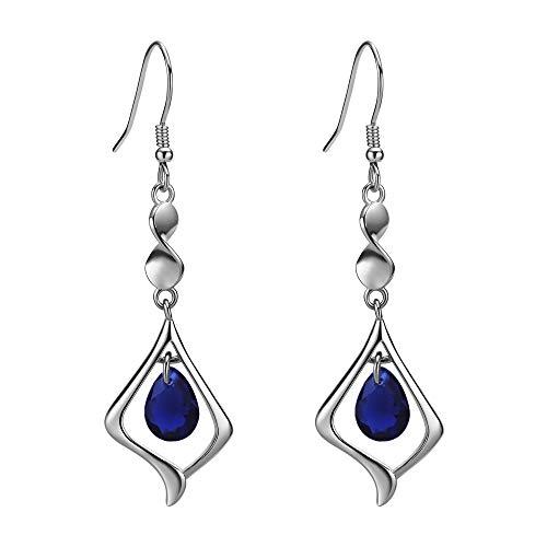Gold Plate 925 Sterling Silver Drop Earrings for women (Saphire Blue)