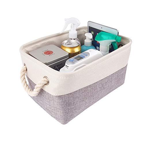 Mangata aufbewahrungskorb Stoff, Kleine aufbewahrungsbox Schrank, Korb aufbewahrung Stoff mit Baumwolle Seil für Spielzeug, kleiderschrank, Regale, Kleidung (Faltbare, Grau Weiß)