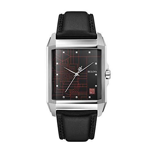 Bulova Frank Lloyd Wright Reloj de cuarzo para hombre, acero inoxidable con correa de cuero negro, tono plateado (Modelo: 96A223)