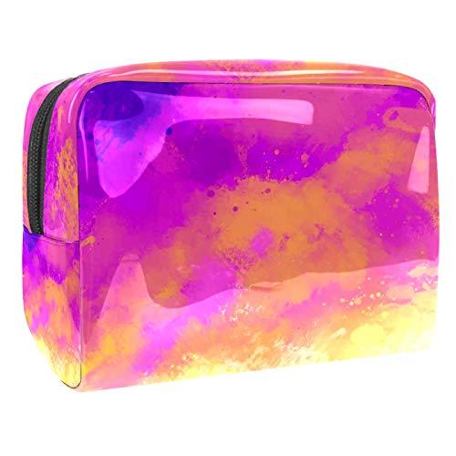 Kosmetiktasche Farbverlauf Pink Orange Schminktasche Tragbar Voller Druck Reise Make Up Tasche wasserdicht Kulturbeutel für Frauen Mädchen 18.5x7.5x13cm