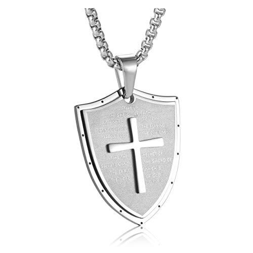 Zysta Edelstahl Herren Halskette mit Gravur- Kreuz Kette Bibel Gebet Schild Anhänger God Ephesians 6:16-17 Amulett Schmuck für Herren Männer (Silber)