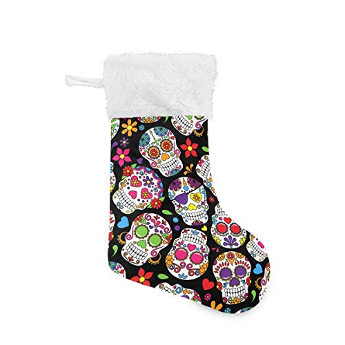 Blueangle Sugar Skull Flower Christmas Stockings 17.7 Inch Gift Holders for Party Holiday Decorations Ornaments (1 Pack)
