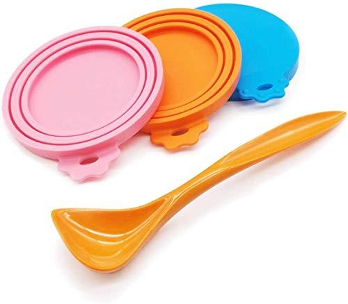 RMI - Coperchi universali in silicone per lattine di cibo per animali domestici, 3 pack+spoon
