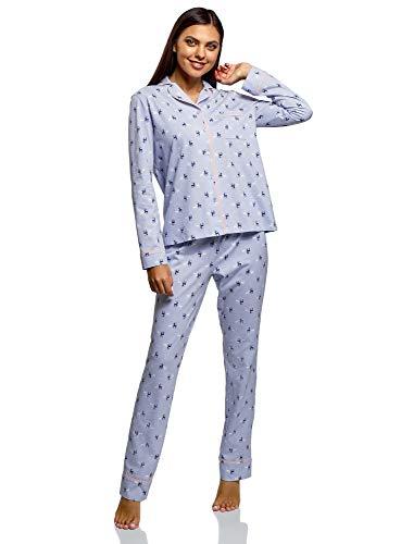 oodji Ultra Damen Bedruckter Pyjama aus Baumwolle, Blau, DE 34 / EU 36 / XS