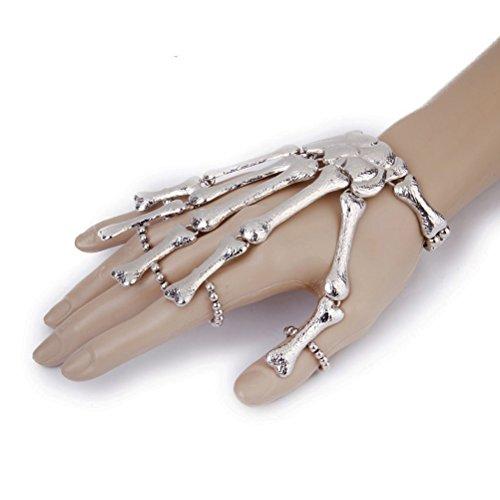 Winomo Punk Skeleton Hand Finger Chain Bracelet Slave Ring Silver