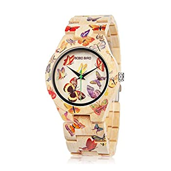 BOBO BIRD Women s Bamboo Watch Butterfly Engraved Handmade Wooden Casual Watches