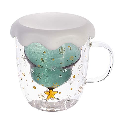 CNNIK Cristal Vidrio de Doble Pared, Tazas de Café Resistentes al Calor, con Arbol de Navidad, Vidrio de Borosilicato Adecuado para Té, Café, Capuchino, Mejor (201-300ml)