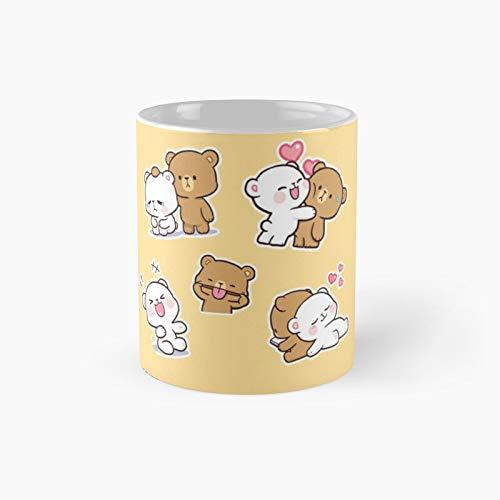 Penta Pack Peach And Gomamilk And Mocha Bears Dog Cat Classic Mug Best Gift Funny Coffee Mugs 11 Oz