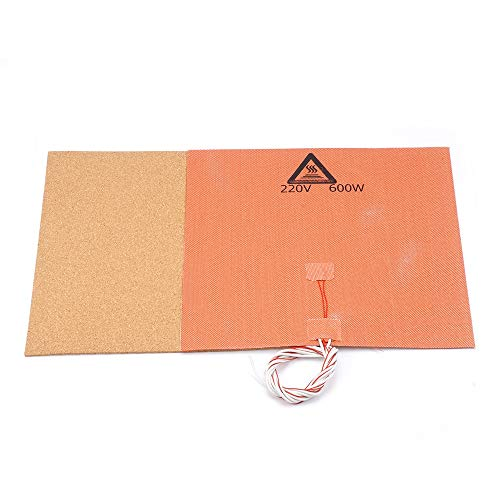 HUANRUOBAIHUO 220V 600W Silicone Heater Pad Mat 300X300mm + Adhesive Cork Sheet 300 * 300 * 3mm Heated Bed Hot Plate For TEVO Tornado Lulzbot Taz6 3D Printer Parts
