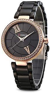 Curren 9014 Quartz Movement Round Dial Stainless Steel Strap Waterproof Women Wristwatch - Black