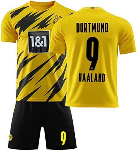 BAOZAI Haaland fußballuniform for Kinder Männer, Dortmund 17 Haaland Fußball Trikots 2021 Saison Heim- und Auswärts Fußball Uniform Fans Jersey Kinder T-Shirt Shorts Club Team mit Fußballsocke (E,22)